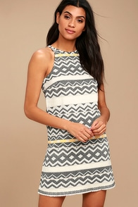 Jack by BB Dakota Andress Cream Print Jacquard Shift Dress