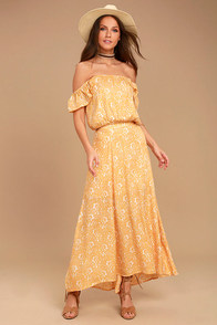 Amuse Society Shiva Yellow Floral Print Maxi Skirt