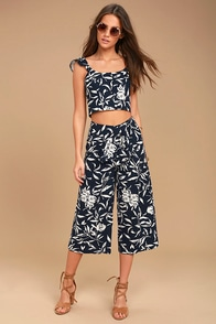 J.O.A. Maylee Navy Blue Floral Print Culottes