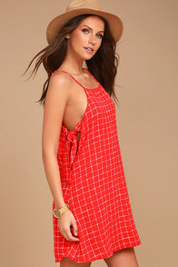 Style Points Red Grid Print Swing Dress