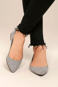 Lexine Grey Suede Pointed Flats