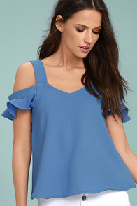 Keeper of my Heart Denim Blue Off-the-Shoulder Top