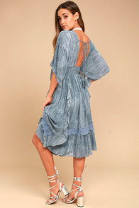 Moon River Volga Slate Blue Midi Dress
