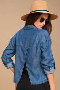 My Reverie Blue Chambray Button-Up Top