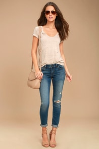 Something to Talk About Medium Wash Distressed Skinny Jeans
