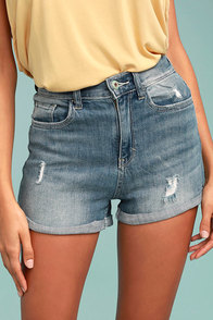 Sing Along Light Wash Distressed Denim Shorts