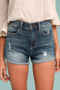 Sing Along Medium Wash Distressed Denim Shorts