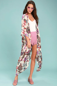 Patrons of Peace Rosa Cream Floral Print Kimono Top