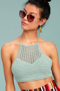 Sahara Sojourn Turquoise Crochet Crop Top