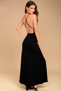 Desert Skies Black Backless Maxi Dress