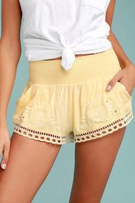 Billabong Summer Skies Yellow Embroidered Shorts