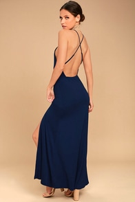 Desert Skies Navy Blue Backless Maxi Dress