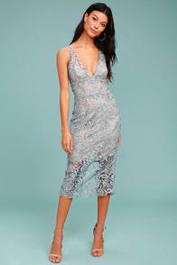 Dress the Population Marie Slate Blue Lace Midi Dress