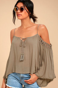 I Feel It Brown Lace Off-the-Shoulder Top