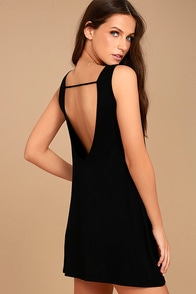 There She Goes Black Backless Swing Dress