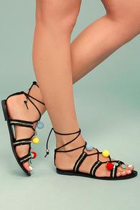 Isabeau Black Lace-Up Pompom Sandals