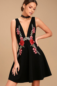 Romantic Rose Black Embroidered Skater Dress