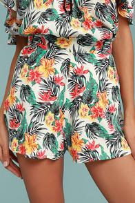 Lucy Love Wedding Crasher White Tropical Print Shorts