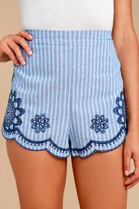 Cobblestone Street Blue Striped Embroidered Shorts