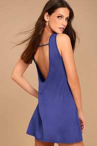 There She Goes Royal Blue Backless Swing Dress