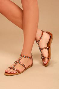 Antonina Chestnut Studded Gladiator Sandals