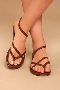 Mia Braid Cognac Leather Thong Sandals