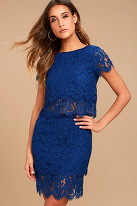 Live For the Night Navy Blue Lace Skirt