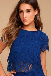 Heartbeats Navy Blue Lace Crop Top