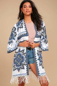 French Polynesia White Print Kimono Top