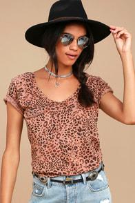 Roar Brown Leopard Print Tee