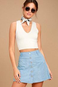 Rhythm Seascape Light Blue Chambray Mini Skirt