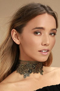 Zevida Black and Gold Lace Choker Necklace