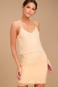 New Friends Colony Glass Petals Peach Beaded Dress