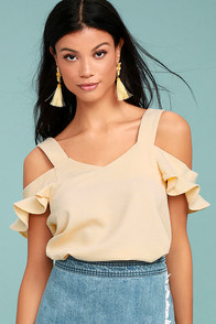 Keeper of my Heart Cream Off-the-Shoulder Top