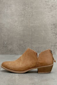 Stands Apart Camel Ankle Booties