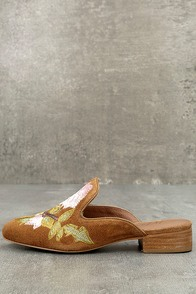 Matisse Bianca Tan Embroidered Suede Leather Loafer Slides