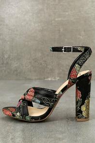 Genevieve Black Brocade Ankle Strap Heels