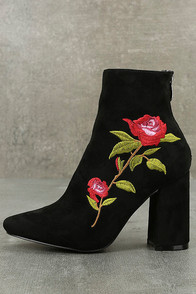 Berenice Black Suede Embroidered Mid-Calf Boots