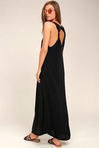 PPLA Enya Washed Black Maxi Dress