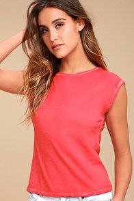 Free People Baby Layering Washed Red Tee