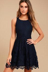 Black Swan Desirae Navy Blue Lace Skater Dress