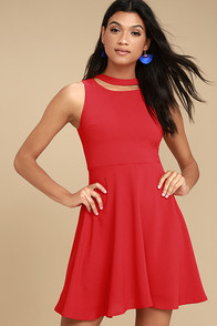 J.O.A. Diana Red Skater Dress