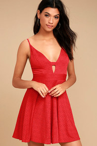 Lucy Love Slay Red Skater Dress