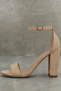 Raylen Natural Suede Ankle Strap Heels