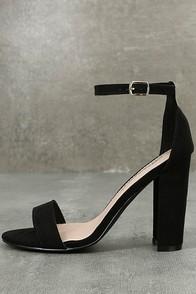 Raylen Black Suede Ankle Strap Heels