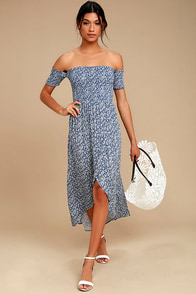 Lucy Love Tranquility Blue Floral Print Off-the-Shoulder Dress