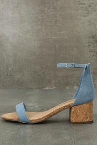 June Blue Denim Cork Ankle Strap Heels