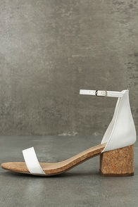 June White Cork Ankle Strap Heels