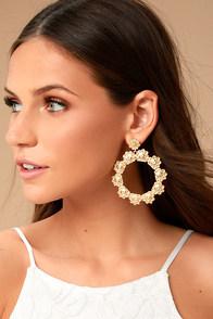 Among the Azaleas Gold Earrings