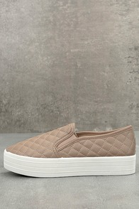 Cosima Natural Quilted Flatform Slip-On Sneakers